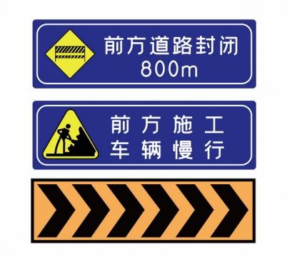 前方道路封闭前方施工车辆慢行公路警示牌png图片素材737001