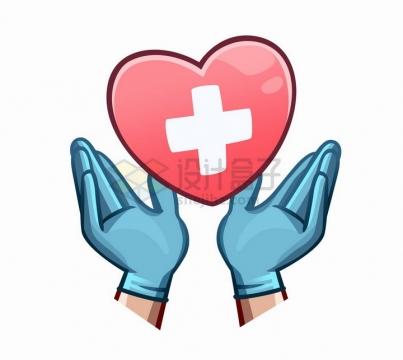 戴手套的双手捧起卡通红十字心形图案png图片免抠矢量素材