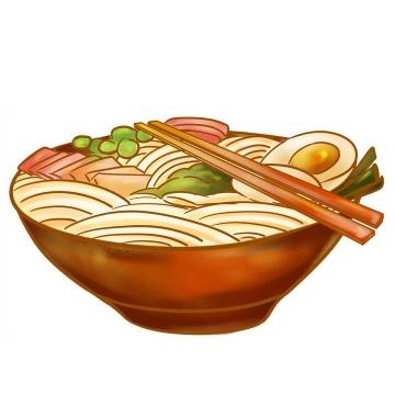 一碗放了筷子的面条png图片免抠素材
