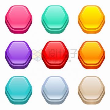 9款六边形3D立体水晶按钮png图片素材