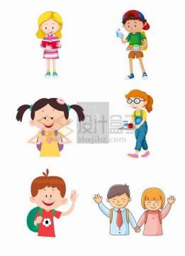 6款卡通学生小朋友六一儿童节插图png免抠图片素材