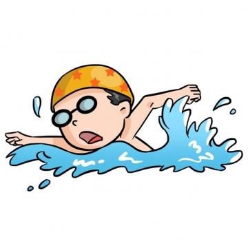 卡通男孩正在游泳png图片素材45465722