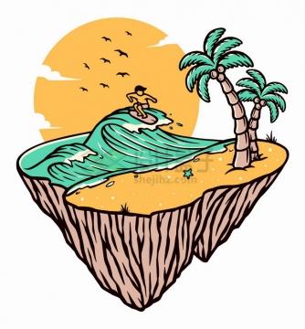 海滩上冲浪的人手绘插画png图片免抠矢量素材