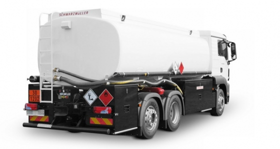 白色槽罐车油罐车危险品运输卡车侧后方视图619507png图片素材