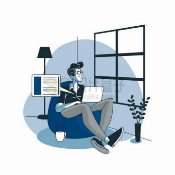 卡通男人坐在懒人沙发上用笔记本电脑工作看向窗外扁平插画png图片素材