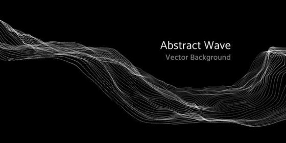 白色科技粒子组成的线条波浪风格图片素材