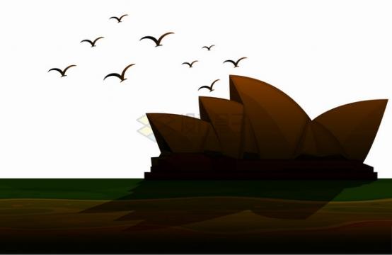 夕阳下的悉尼歌剧院剪影澳大利亚旅游png图片素材
