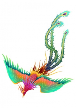 飞行中的绿孔雀凤凰png图片免抠素材