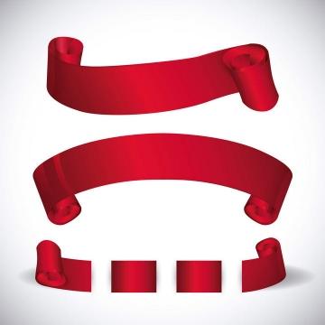 三款红色丝带标题框横幅免抠矢量图片素材