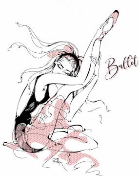 手绘线条风格正在拉伸的芭蕾舞者美女png图片免抠矢量素材