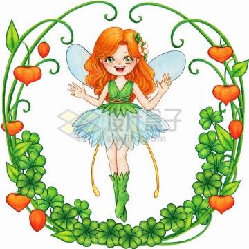 被鲜花绿叶圆圈包围着的卡通花仙子png图片免抠矢量素材