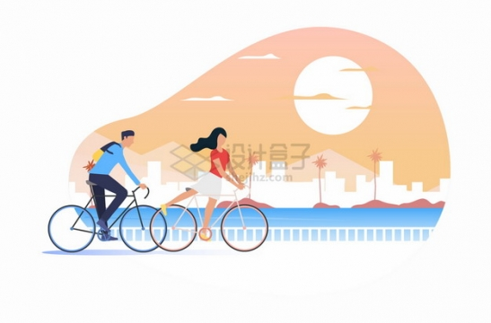 夕阳下卡通男孩女孩骑自行车出行郊游扁平插画png图片素材
