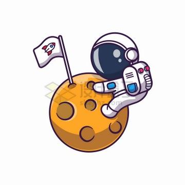卡通宇航员抱着外星球插旗子png图片免抠矢量素材