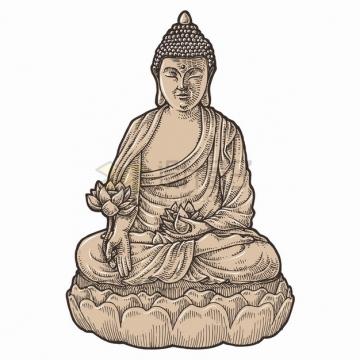 佛像雕塑泥菩萨手绘插画png图片素材