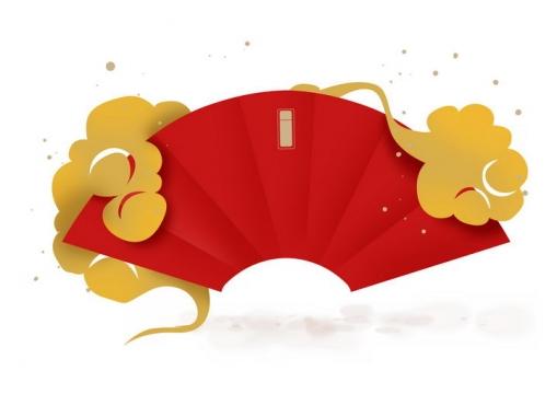 新年春节金色祥云装饰红色扇形文本框png图片免抠素材