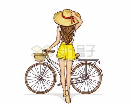 戴着遮阳帽的美女推着自行车背影彩绘插画682539png矢量图片素材
