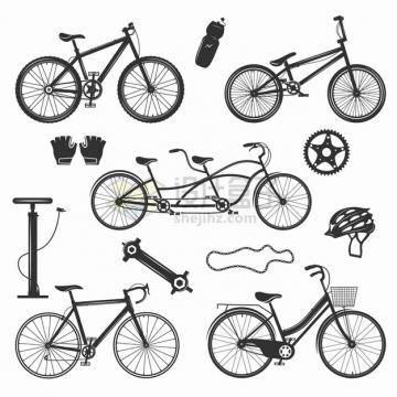 各种黑白色的自行车打气筒头盔链条等png图片素材