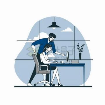 卡通男子在电脑前指导女人工作扁平插画png图片素材