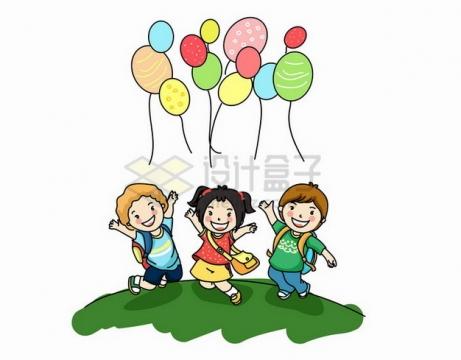 绿地上的开心的卡通小朋友和彩色气球六一儿童节png免抠图片素材