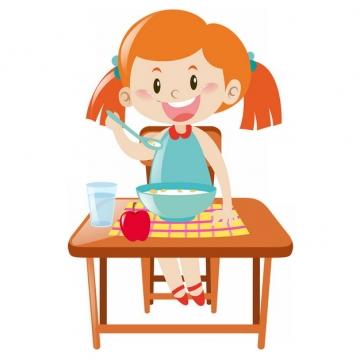 卡通小女孩正在吃营养早餐png图片素材
