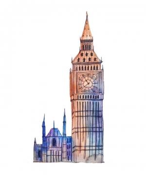 手绘风格伦敦标志建筑伊丽莎白塔大本钟图片免抠素材