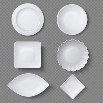 六款各种不同形状的白瓷盘子瓷器餐具图片免抠素材