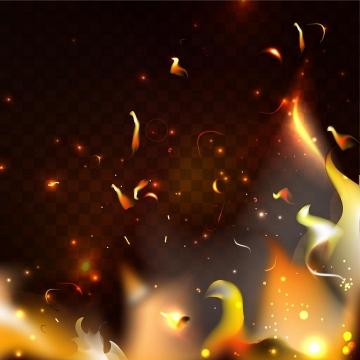 燃烧的熊熊大火上飞舞的火星火花效果图片免抠矢量图素材