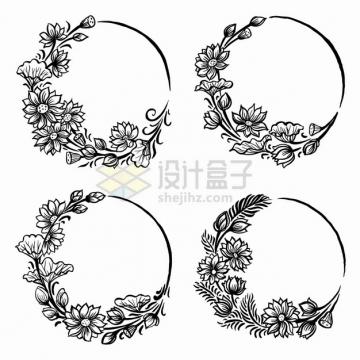4款花朵叶子组成的圆形文本框标题框黑色线条插画png图片素材