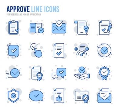 20款蓝色线性待办事项线条icon图标图片免抠素材