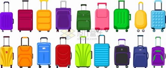 18款五颜六色的卡通行李箱旅行箱包png图片素材