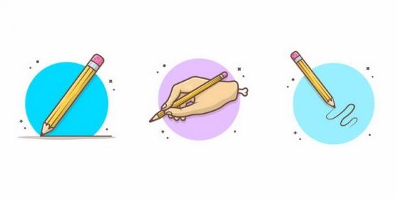 3款MBE风格卡通铅笔和拿笔写字姿势png图片免抠矢量素材