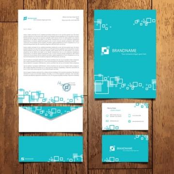 蓝色公司企业文件合同信件名片等VI设计模板181445图片素材
