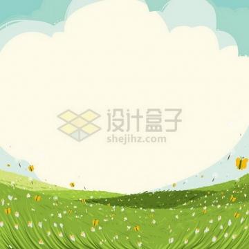 春天春风轻抚下的青草地背景png图片免抠矢量素材