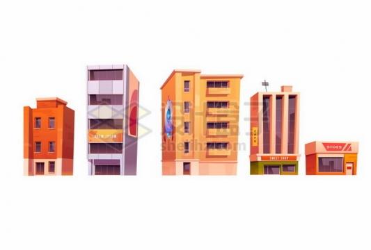5款卡通城市建筑高楼大厦商店酒店595446 png图片素材