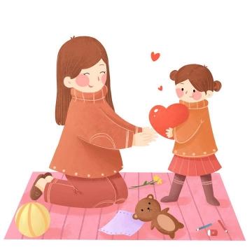 卡通手绘插画风格正在和女儿玩游戏的妈妈母亲节图片免抠素材
