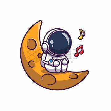 卡通宇航员蹲在弯弯的月球上唱歌png图片免抠矢量素材