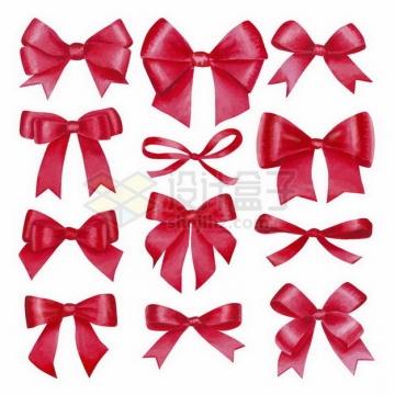 不同形状的红色蝴蝶结png图片免抠矢量素材