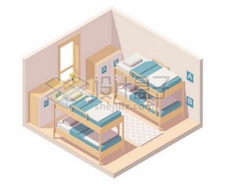 2.5D风格双层床铺学生员工宿舍109570png矢量图片素材