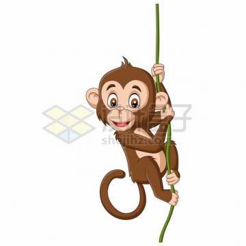 吊在绳子上的卡通小猴子捞月亮495020png矢量图片素材