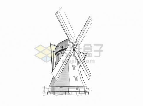 荷兰大风车手绘素描铅笔画png图片免抠矢量素材