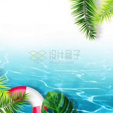 夏天的热带椰树叶和蓝色水面效果915432png图片素材