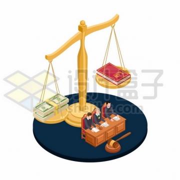公正的法律拒绝钱权交易插画691995png图片素材