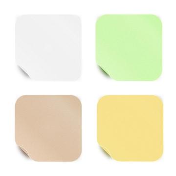 4款糖果色掀开一角的圆角正方形便签纸图片免抠矢量素材