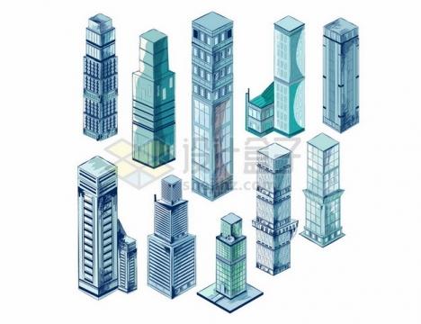 10款蓝绿色玻璃幕墙高楼大厦855236png矢量图片素材