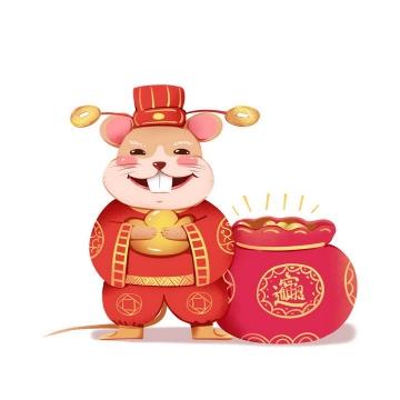 卡通鼠年老鼠财神爷拜年新年春节图片免抠png素材