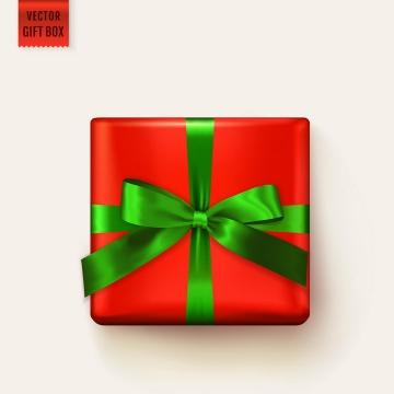 绿色蝴蝶结包装的红色礼物盒图片免抠素材