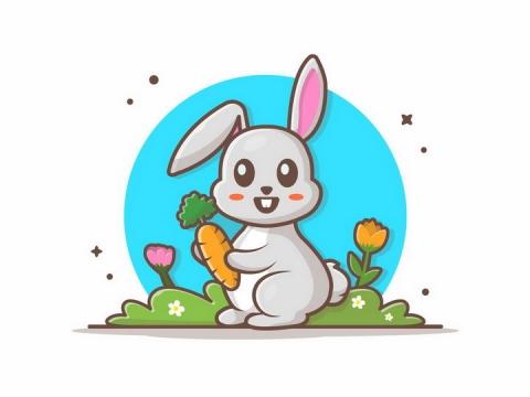 MBE风格吃胡萝卜的卡通小兔子png图片免抠矢量素材