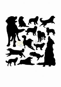 金毛犬狗狗宠物狗动物剪影合集png图片素材