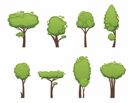 8款卡通风格郁郁葱葱的大树树木png图片免抠矢量素材