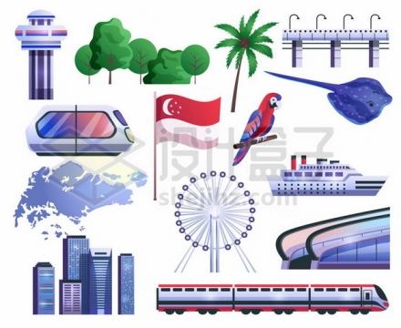 新加坡元素和风景卡通插画368109png图片素材